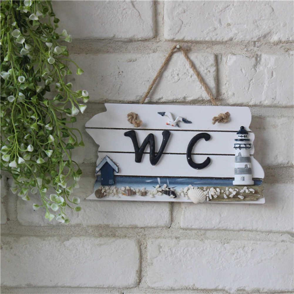 Style méditerranéen bateau balise toilette en bois WC signe plaque de porte salle de bain décor pour la maison hôtel WC porte plaque salle de bain fournitures