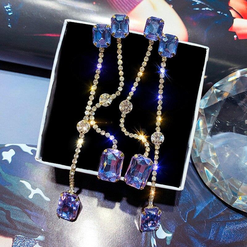 FYUAN Vintage Long Tassel Drop Earrings for Women 2019 Bijoux Square Champagne Crystal Dangle Earrings Party Jewelry Gifts