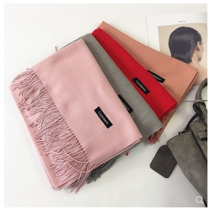 J1305  Female Scarf Winter Korean Version Pure Cashmere-like Long Spring and Autumn Double-sided Shawl Neck