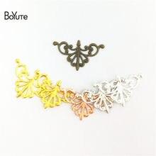 BoYuTe Filigree Wholesale (50 Pieces/Lot) 16*28MM Metal Brass Stamping Flower Filigree Findings Diy Jewelry Accessories