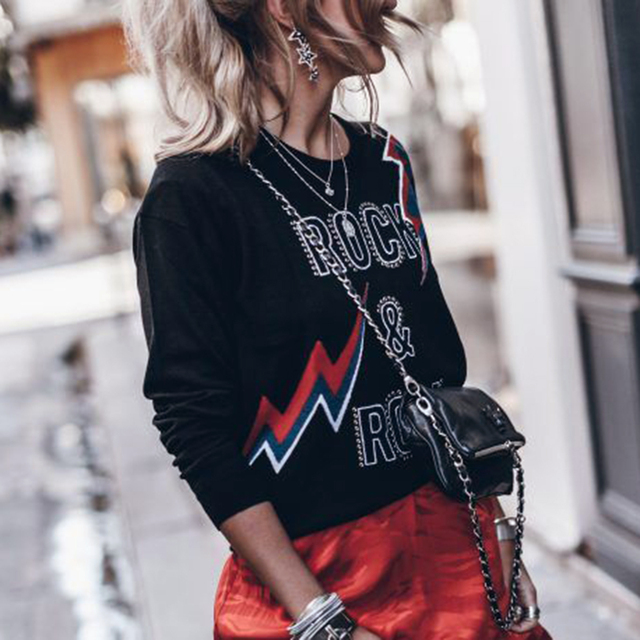 Beading Letter Graphic Sweater Women Autumn Winter Long Sleeve O Neck Black Pullover 2020 Casual Vintage Rock Sweaters Tops 1