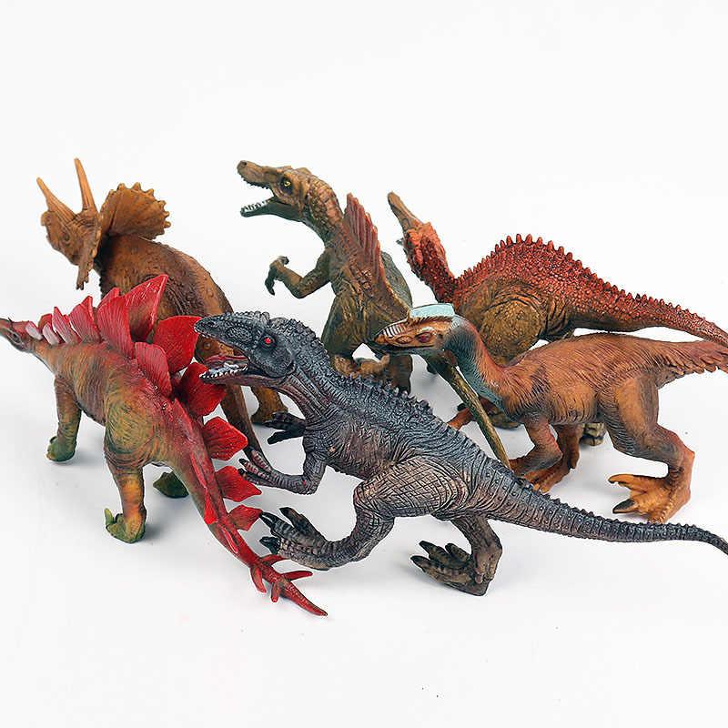 12 sztuk nowe duże sztuczne stałe modele dinozaurów zestaw dinozaury zabawki tyranozaur pterozaur tricerozaur