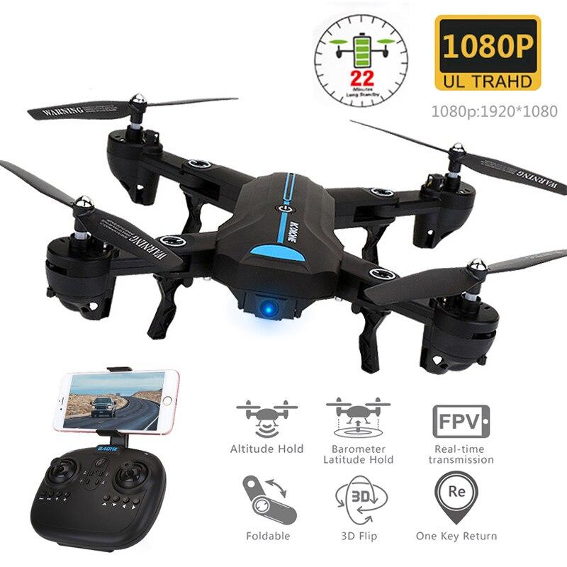 Mini Drone GPS Drones avec grand-angle HD avec Mode de maintien élevé pliable Drone quadrirotor RC Mode sans tête avion gyroscopique 4 canaux