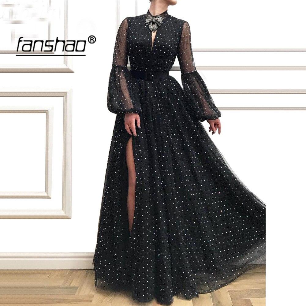 schwarz muslimischen lange abendkleider puff sleeve high neck spitze bogen  schlitz dubai prom kleid formale kleid abend party kleid