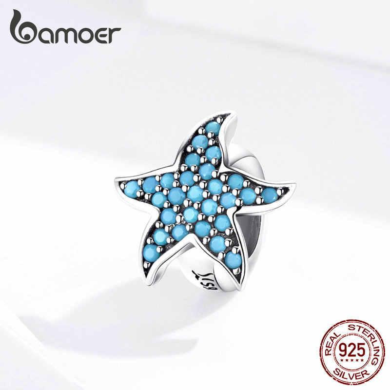 Bamoer ブルーヒトデストッパーチャームシルバー 925 オリジナルビーズフィット女性ブレスレット & バングルクジルコニアチャームシリコーン SCC1313
