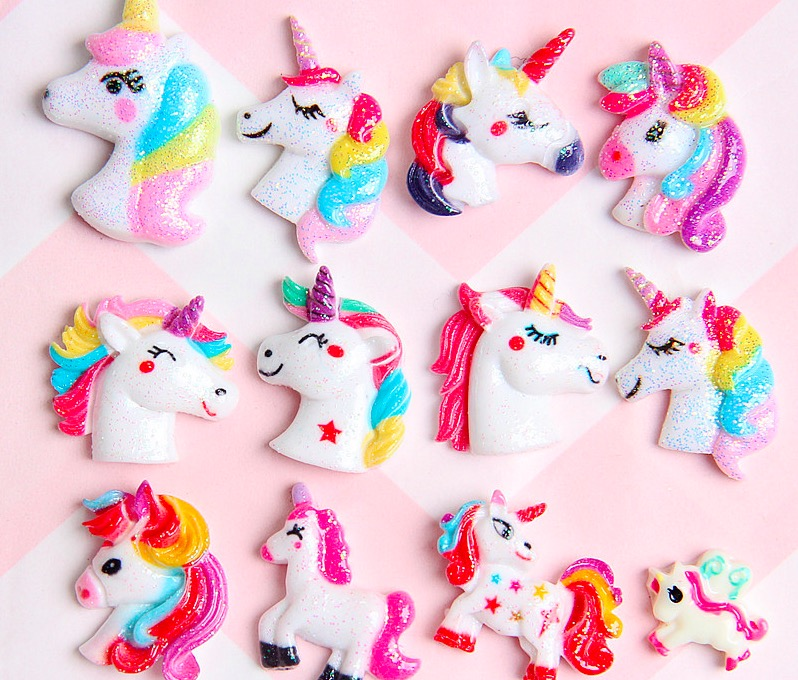10PCS Unicorn Charms For Jewelry Making Hair Clip Headdress Decoration Cute Rainbow Resin