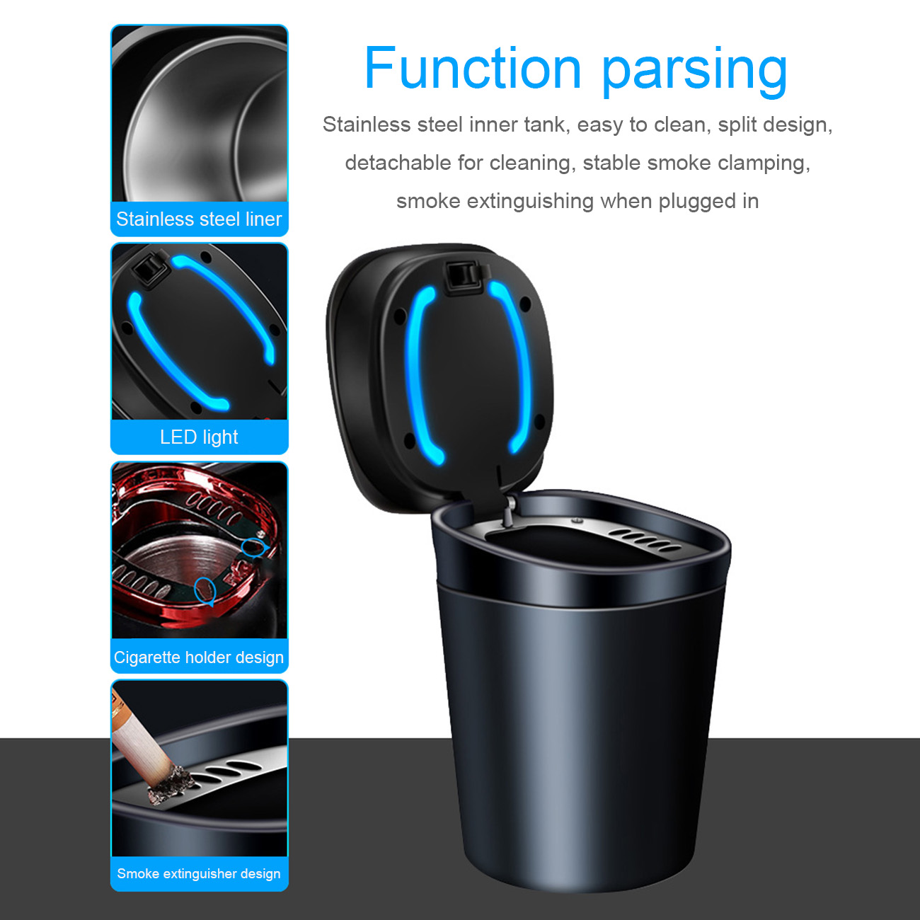 Car Ashtray with Detachable Lid Creative Portable Ashtrays with LED Light Decorative for Vehicle Automotive Interior Accessories