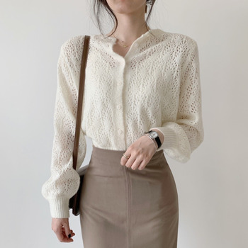 2020Fashion Lantern Long Sleeve Cardigan hollow-out wool knitted cardigan Lady gentle style solid color long sleeve outer matc sweet solid color collarless long raglan sleeve cardigan for women