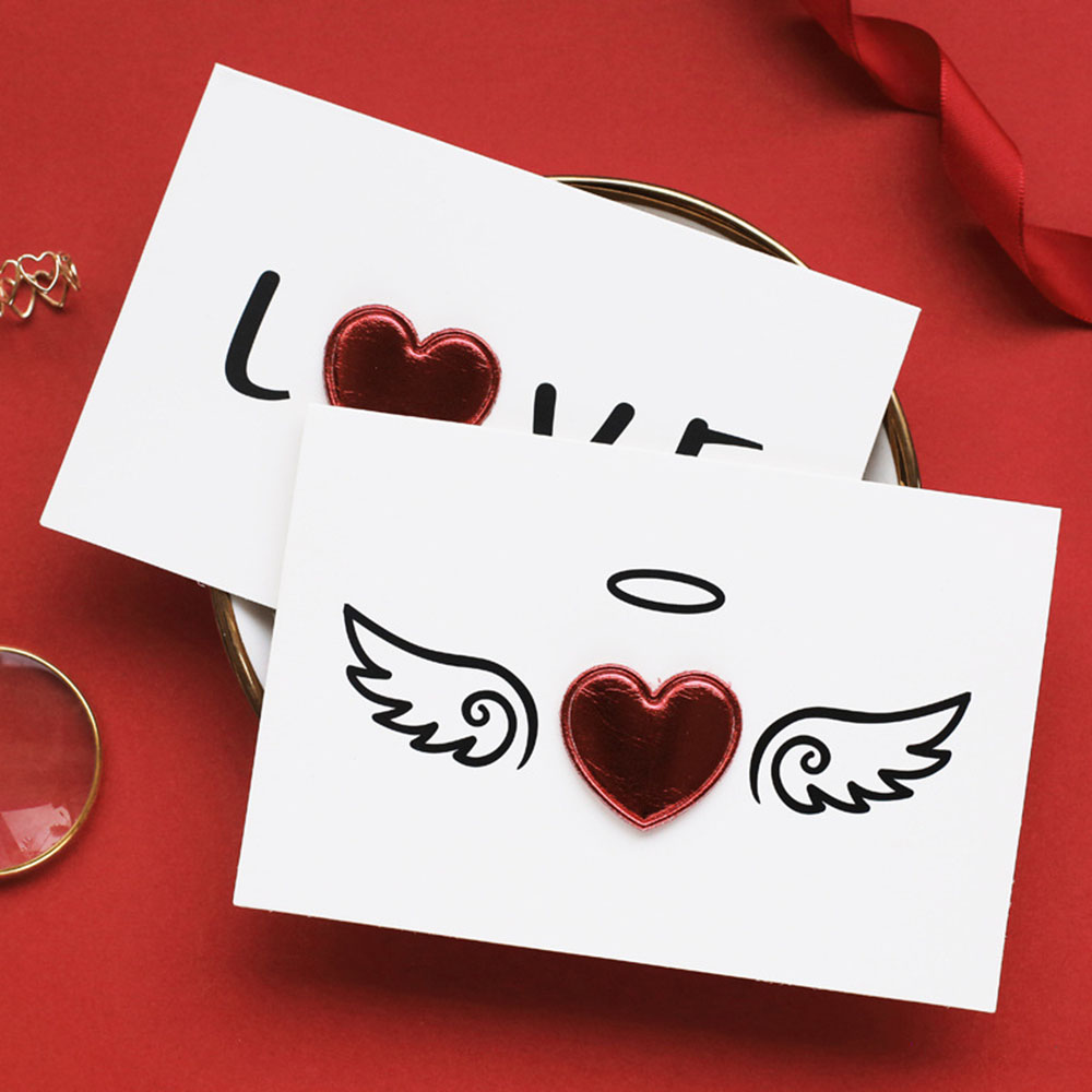 Valentine's Day Gift Card Solid Red Heart Greeting Card with Envelopes Romantic Letter I Love You Forever Wedding