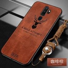 OPPO için A9 2020 kılıf lüks yumuşak silikon + sert kumaş geyik kedi koruyucu arka kapak kılıf için OPPO A5 2020 telefon kabuk