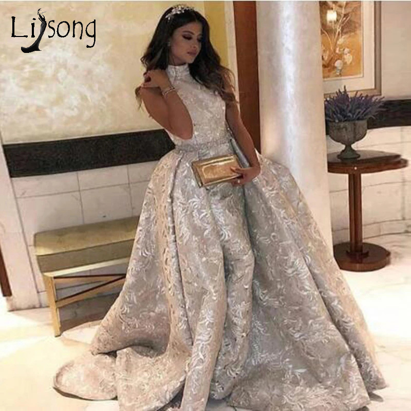 Arabic Silver Lace Mermaid Evening Dresses 2019 With Detachable Train High Collar Sparkle Sequined Prom Gowns Robe De Soiree