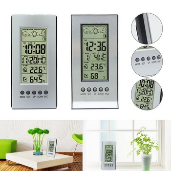 Electronic Thermometer Hygrometer Digital Room Humidity Temperature Gauge Weather Station Alarm Clock Indoor free shipping temperature alarm indoor and outdoor large screen electronic hygrometer oversized word was high and low temperatur page 3