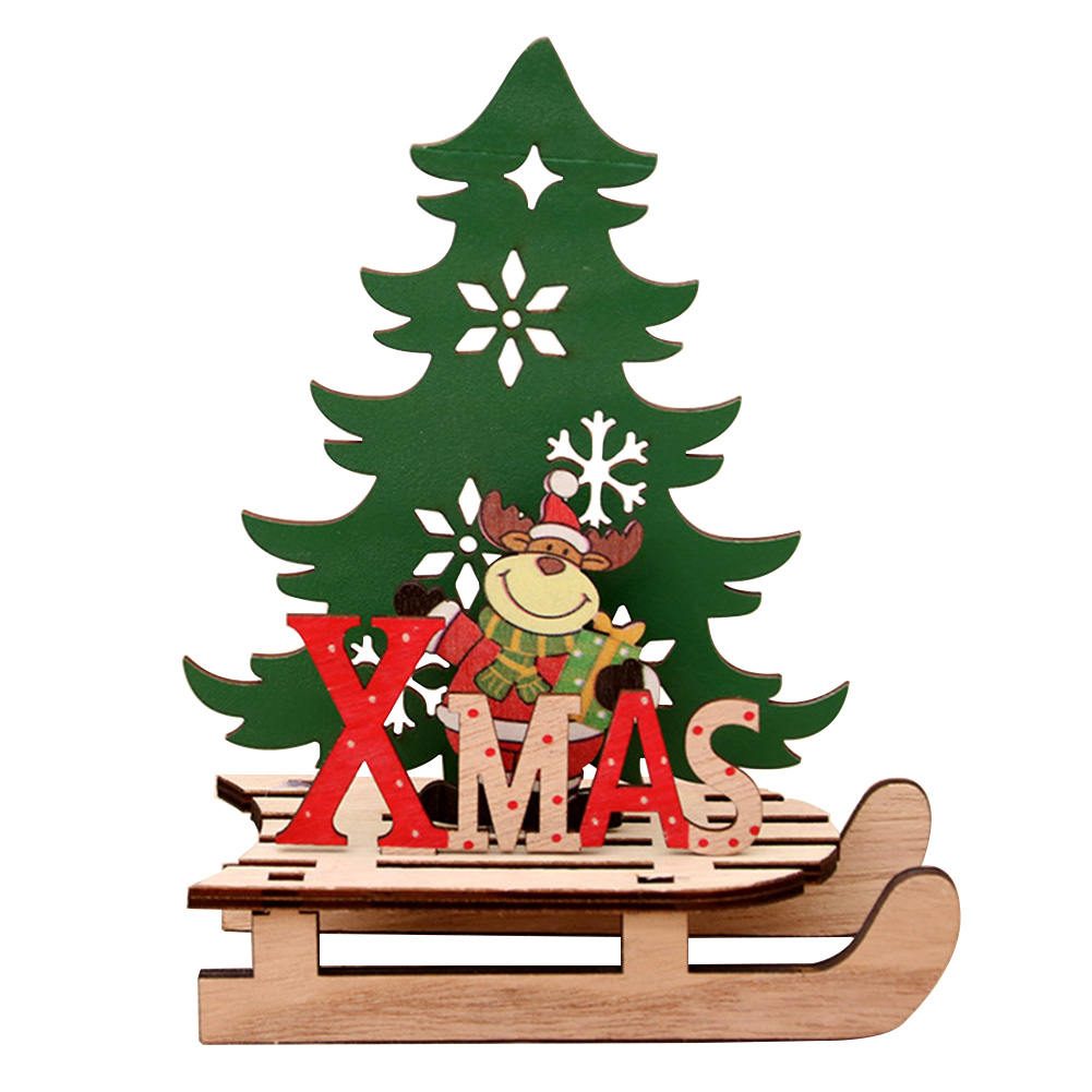Us 212 9 Offcute Desktop Painted Wooden Sled Santa Claus Tree Shape Diy Craft Decoration Home Party Deer Kids Gift Christmas Ornament In Pendant