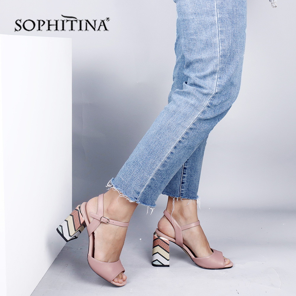 SOPHITINA High Quality Sheepskin Women' S Sandals Fashion Ankle Buckle Strap Super High Square Heels Shoes Elegant Sandals PC655
