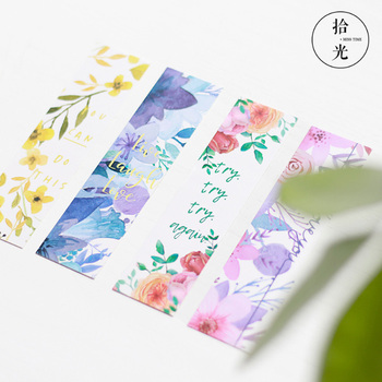 30Pcs/pack Cute Poetic flower Paper Bookmark Stationery Bookmarks Book Holder Message Card School Supplies 30pcs set flowers bookmarks message cards book notes paper page holder for books school supplies accessories stationery