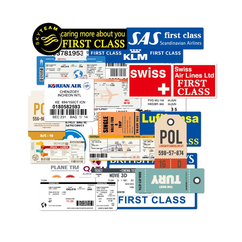 30Pcs Funny Air Tickets Stickers Traveling Boarding Pass Air Tickerts Sticker Decals For Suitcase Laptop Luggage Car 100% Vinyl