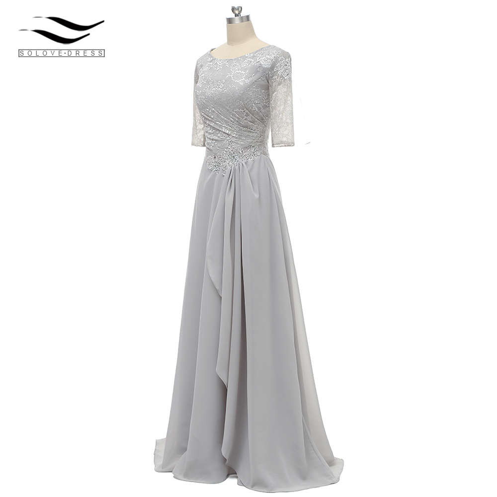 Ruffles Short Half Sleeves Scoop Neck Lace Formal Gown Pleat Mother Of The Bride Dress Silver For Wedding Party SL-M003