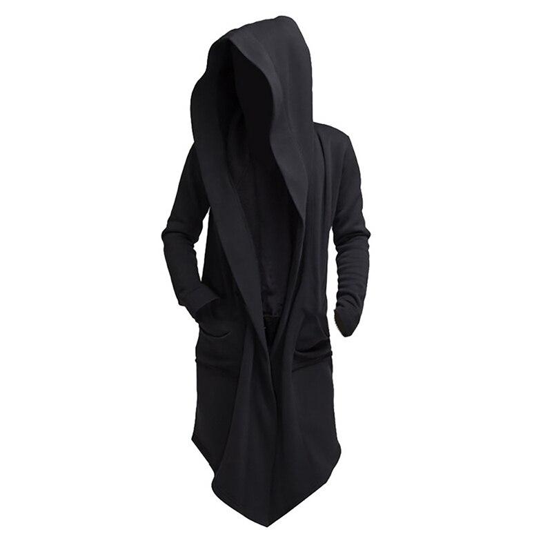H8eacd325dc4746d7a6678895f504ae4dz Vintage Men Autumn Winter Hoodies Jacket Long Cardigan Coat Casual Hip Hop Solid Pocket Jacket Hooded Outwear Veste Homme