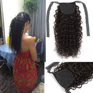 Drawstring Ponytail Hair-Extensions Remy-Hair Plus Fashion Curly Clip-In for Black-Women