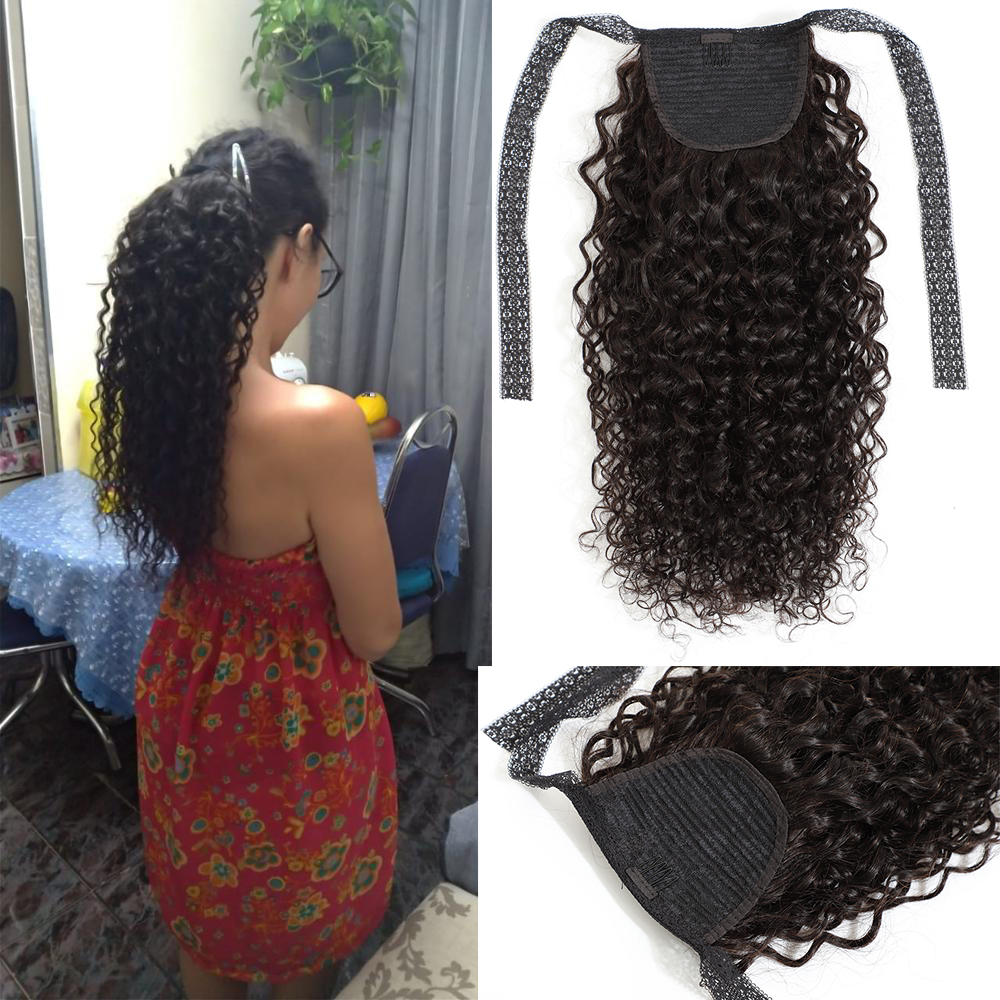 Fashion Plus Curly Ponytail 100% Human Hair Extensions Drawstring Ponytail Clip In Hair Extensions Remy Hair For Black Women