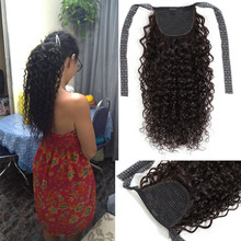 Fashion Plus Curly Ponytail 100% Human Hair Extensions Drawstring Ponytail Clip In Hair Extensions Remy Hair For Black Women(China)