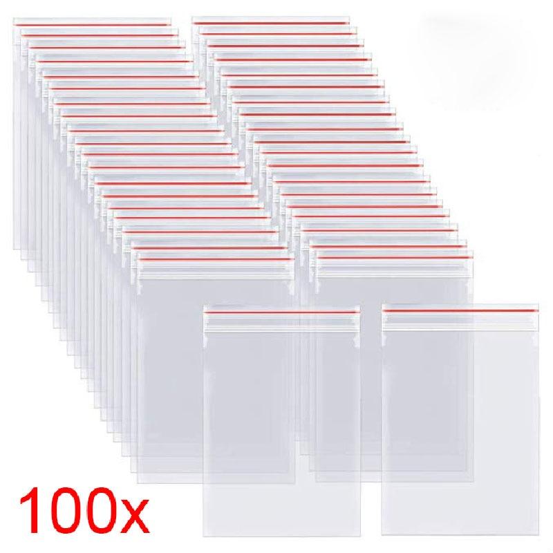 100pcs/pack Resealable Zip Lock Bags Self Seal Clear Plastic Poly  Bag Food Storage Package Reclosable Vacuum Fresh Bag