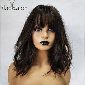 Image 2 - ALAN EATON Medium Wavy Black Brown Women Bobo Wigs with Bangs Synthetic Fiber High Temperature Fiber Female Heat Resistant