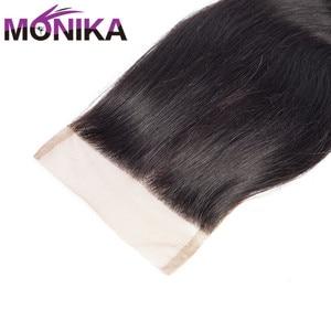 Image 5 - Monika 브라질 바디 웨이브 클로저 Cheveux Human Hair Closure Piece 4x4 레이스 클로저 헤어 프리/미들/3 파트 클로저 Non Remy