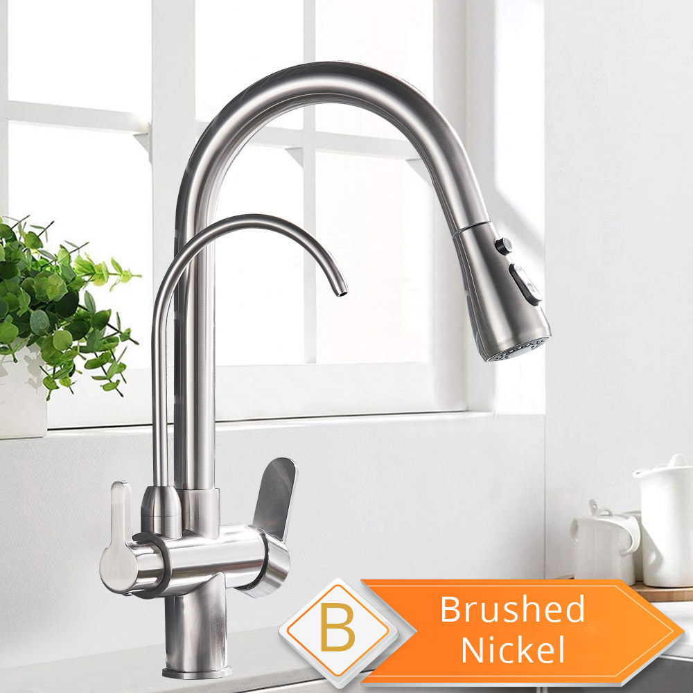 H8ead52143ede43539bc89cf76c54072e8 Black and Golden Filtered Crane For Kitchen Pull Out Sprayer drinking water Three Ways Water Filter Tap Kitchen Faucet hot cold