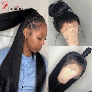 Perucas de cabelo humano reto brasileiro 360 peruca frontal do laço 180% densidade pré arrancadas com linha fina natural para o cabelo preto do bebê das mulheres