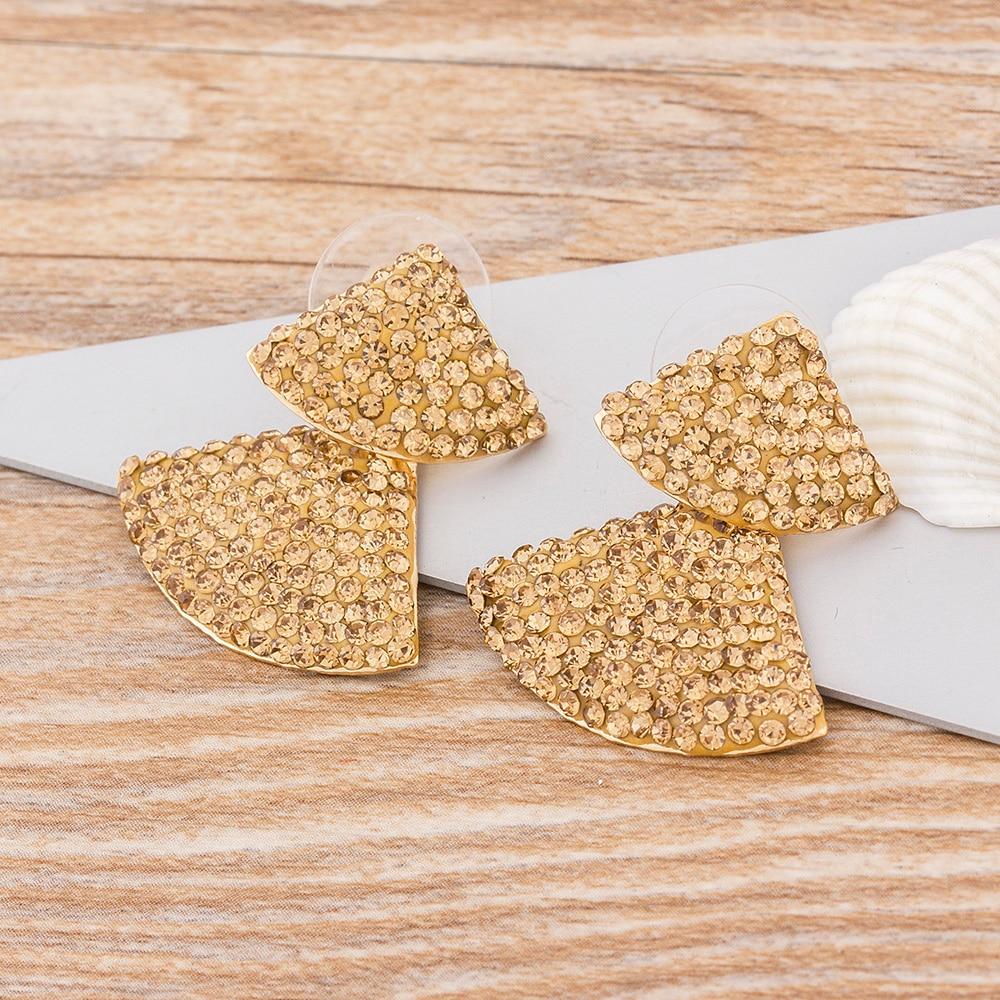 Geometric Gold Silver Color Tree Drop Dangle Earrings Vintage Copper Cubic Zirconia Rhinestone Jewelry Earrings For Women Girls