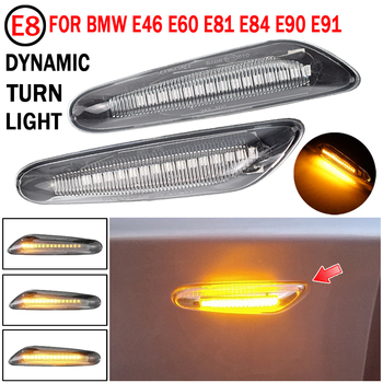 2pcs Smoke LED Side Marker Light Flowing Water Indicator Turn Signal Lights For BMW E90 E91 E92 E93 E60 E81 E82 E61 Error Free image