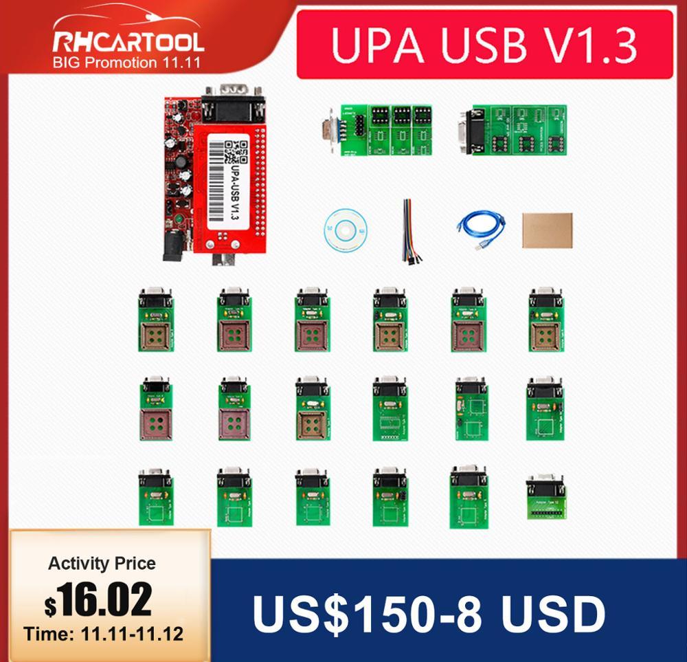 OBD2 UPA Diagnostic tool ECU Programmer UPA USB V1 3 With Full Adapter ENC Powerful function for program code reader scanner