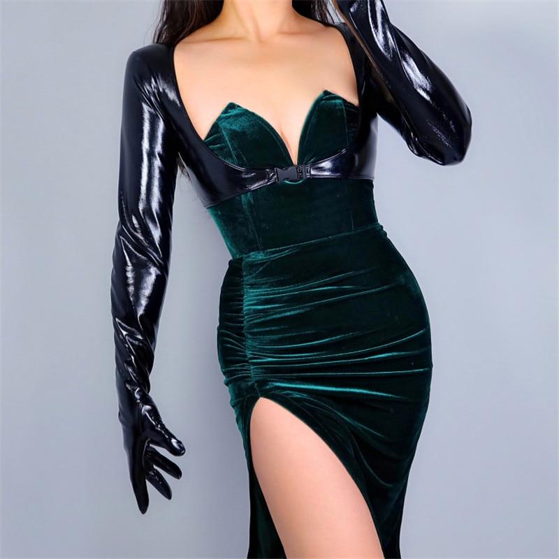 Latex Bolero Gloves Fashion Trend Shine Leather Faux Patent Black Jacket Crop Top Shrug Jumper For Women Leatherwear Glove