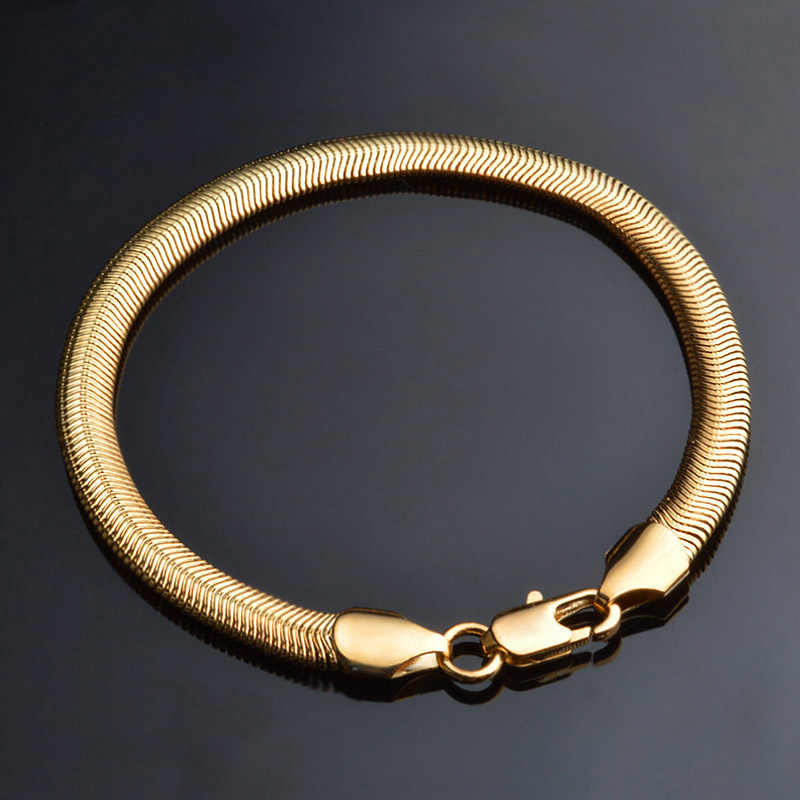 20cm Silver Gold Bracelet Men Jewelry Snake Link Chain Bracelets 6mm Male Hip Hop Fashion Gift Hand Chain Womens Bracelet
