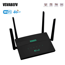 4g LTE Router Black CPE 300Mbps Wireless Wi-Fi with Wide Coverage and 4 External High Gain Antennas Slots for Up to 32 Users DC