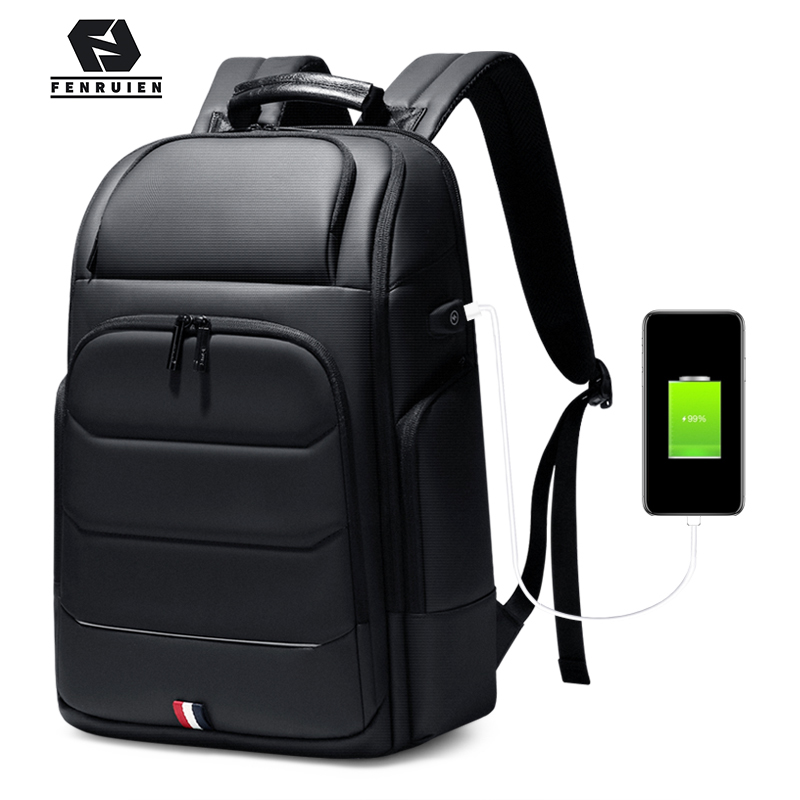 Fenruien Brand Wateproof 15.6/17 Inch Laptop Backpack USB Charging Large Capacity Men Backpacks Travel Backpacking High Quality