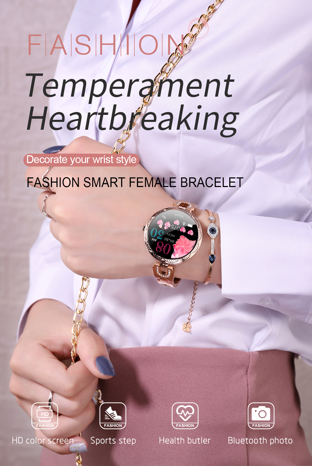 H8eadf85202694940acb7d336dc69be9ei COBRAFLY AK15 Smart Watch Women Bracelet Heart Rate Monitoring IP67 Waterproof Fitness Tracker Ladies Watches for Xiaomi Iphone