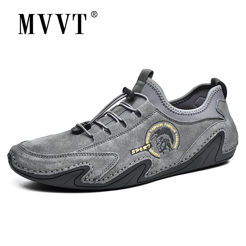 2020 New Suede Leather Shoes Men Loafers Octopus Casual Leather Shoes Soft Driving Shoes Men Flats Walking Lace-Up Man Footwear