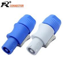 10 개/몫 3 핀 AC Powercon 커넥터 남성 플러그 NAC3FCA NAC3FCB AC 전원 플러그 20A/250V 무대 조명 LED 스크린 블루/화이트