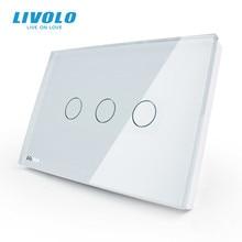 Livolo米国標準壁のタッチ制御スイッチ、 3 ギャング 1way、ac 110 〜 220v、ホワイトクリスタルガラスパネル、VL C303 81