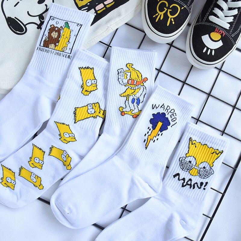New Men's Cartoon Funny Cotton Socks 1Pairs Unisex Couple Simpson Family Chrismas Men Socks Marvel Chaussettes Winter Socks