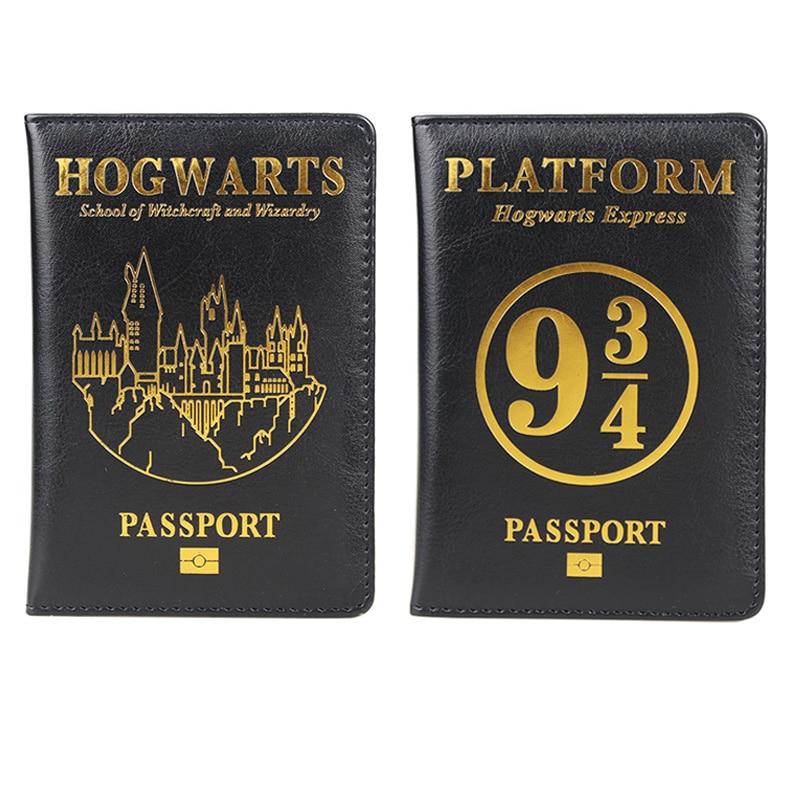 HEQUN Hogwarts School Passport Holder Black Soft Pu Leather 943 Platform Travel Covers For Passport Case Wallet Porta Pasaporte