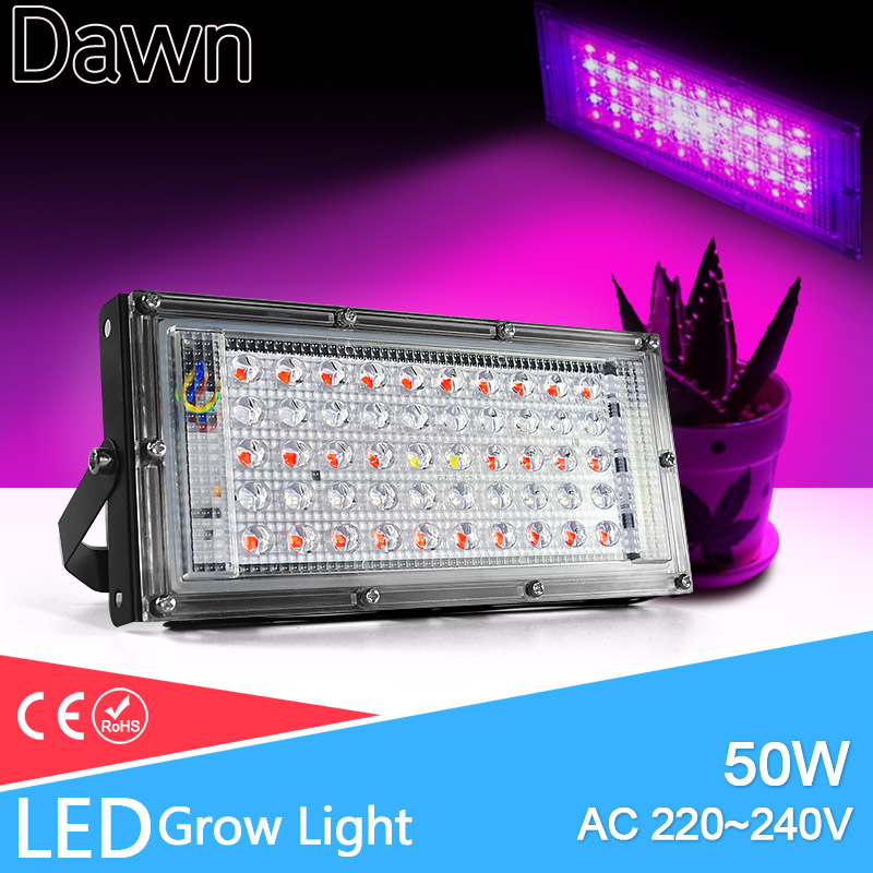 LED Grow Light Floodlight E27 LED Lamp Full Spectrum 50W AC 220V Indoor Plant Lamp IR UV For Flowering Hydroponics System
