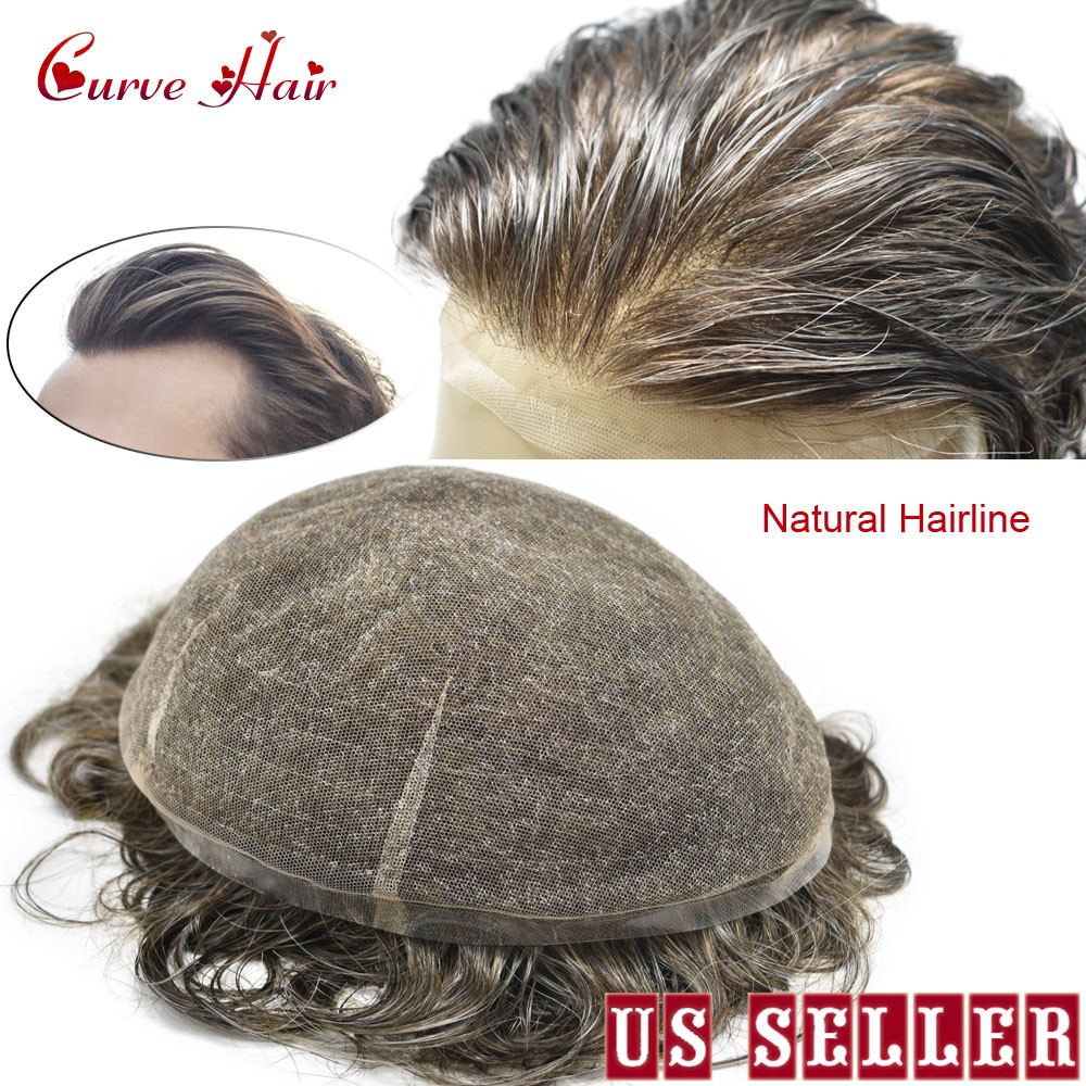Full Swiss Lace Hairpiece All Lace Toupee For Men 100% Hand Tied Human Hair Replacement Mens Hair Systems Natural Hairline