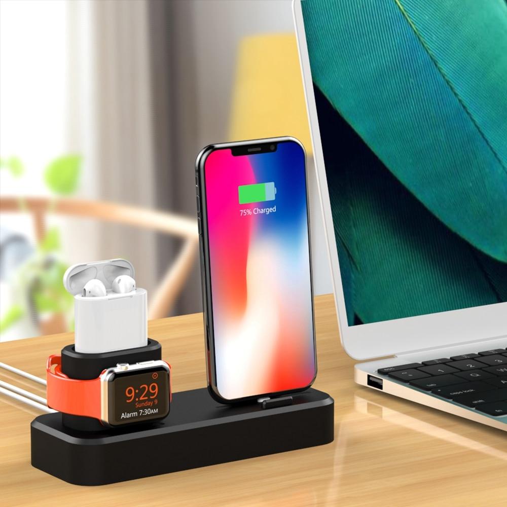3 в 1 многофункциональная Зарядка Док-станция для док станция силиконовый держатель для зарядного устройства для Apple iphone часы Airpods для iPhone мо...