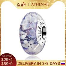 Athenaieムラーノガラス 925 シルバーコアパープルフラワーガーデンビーズチャームカラーパープルフィットガール女性ウェディングジュエリー