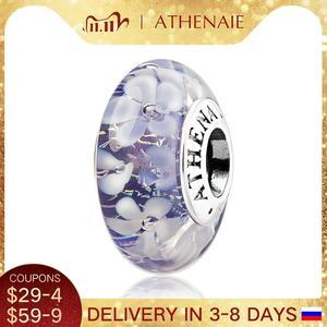 Image 1 - Athenaieムラーノガラス 925 シルバーコアパープルフラワーガーデンビーズチャームカラーパープルフィットガール女性ウェディングジュエリー