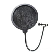 Большой размер двухслойный микрофон, поп-фильтр Mic Ветрозащитная маска щит регулируемое поворотное крепление MI0424