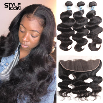 Brazilian Body Wave with Frontal Human Hair 3/4 Bundles Body Wave Bundles with Frontal Closure 13x4 Ear To Ear Lace Frontal 30 image